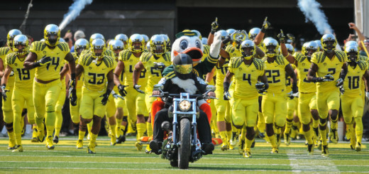 Oregon taking the field prior to facing Michigan State