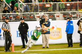 Nelson makes a clutch play on special teams in the Ducks victory against Arizona in the Pac-12 Championship