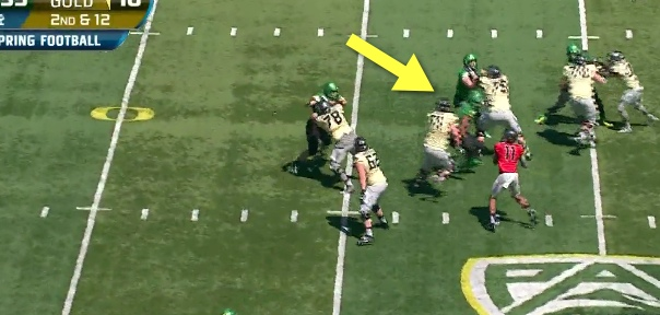 Eggert stays between the rusher and his QB...