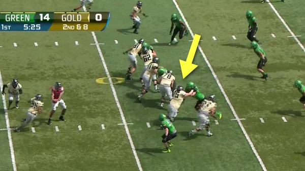 A powerful blast off the line of scrimmage!