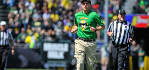 Mark Helfrich at this year's spring game