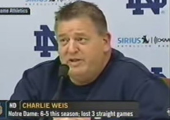 Charlie Weis continues to draw a fat salary from Notre Dame.
