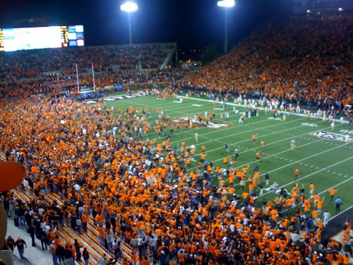 But the Beaver fans were asking for it when they rushed the field because they beat the spread in a 24-17 loss to New Mexico.