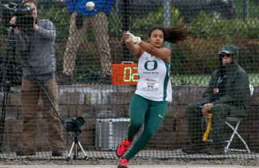 Jillian Weir looks to place in the hammer.