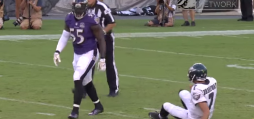 Terrell Suggs after hitting Bradford