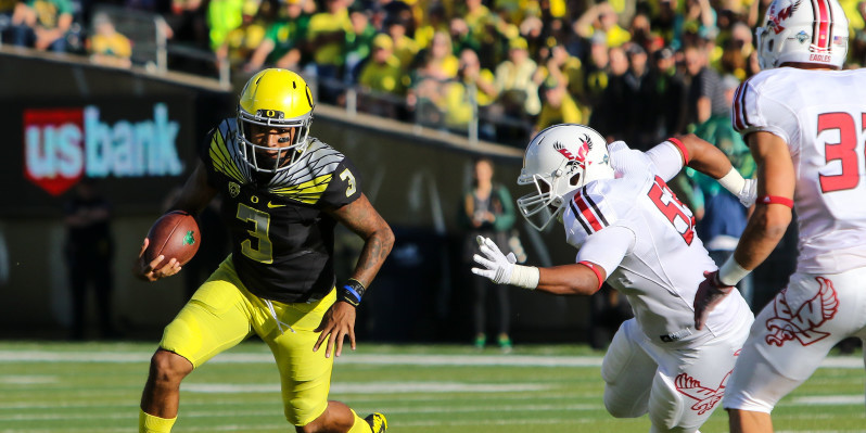 Oregon Football takes on the Eagles of Eastern Washington in their season opener of the 2015 season. This is an anticipated game as Oregon fans will see new QB Vernon Adams for the first time in a Duck Uniform. (photo Copyright John D. Sperry)