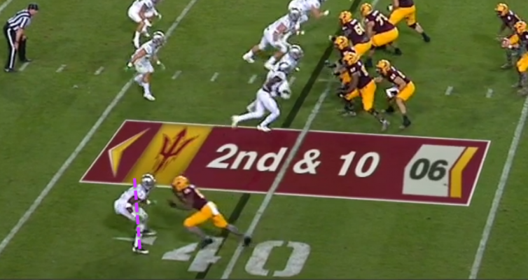Tyree absorbing the WR, slowing him down